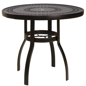 "Deluxe 42"" Round Dining Table with Trellis Top, Outdoor Furniture, Woodard - Danny Vegh's"