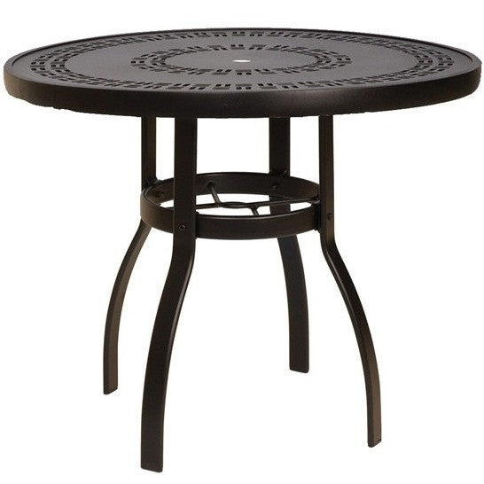 "Deluxe 48"" Round Dining Table with Trellis Top, Outdoor Furniture, Woodard - Danny Vegh's"