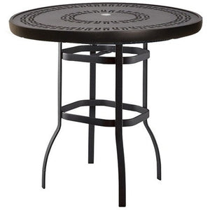 "Deluxe 36"" Round Bar Height Table with Trellis Top, Outdoor Furniture, Woodard - Danny Vegh's"