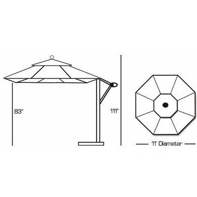 11 ft Cantilever Aluminum Market Umbrella, Outdoor Furniture, Galtech - Danny Vegh's