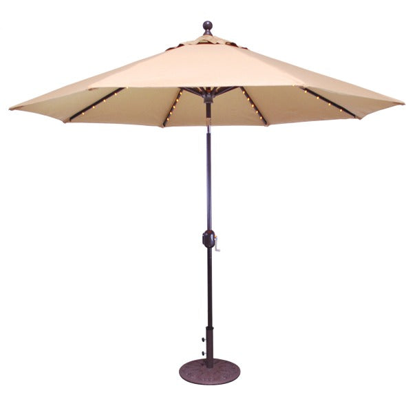 9 ft LED Lighted Autotilt Aluminum Market Umbrella, Outdoor Furniture, Galtech - Danny Vegh's