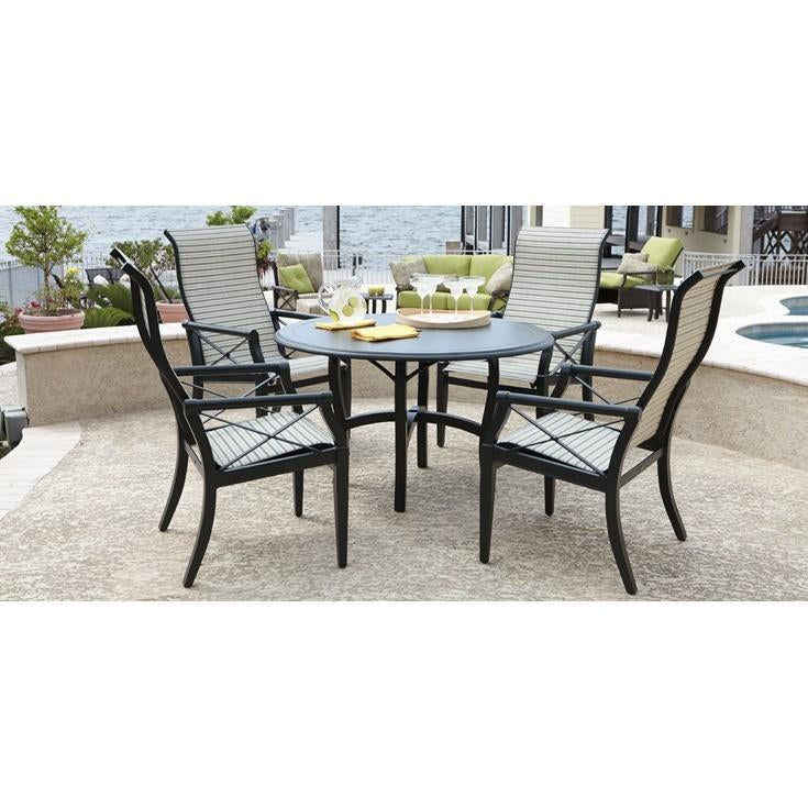 Andover High Back Padded Sling Swivel Rocker Dining Arm Chair, Outdoor Furniture, Woodard - Danny Vegh's