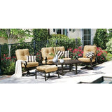 Belden Cushion Crescent Love Seat, Outdoor Furniture, Woodard - Danny Vegh's