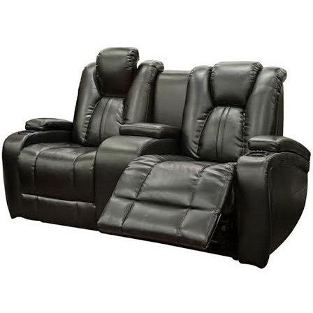 Galaxy Power Leather Loveseat w/ LED Console