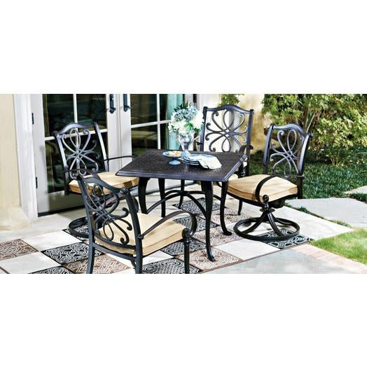 Holland Dining Arm Chair with Optional Cushion, Outdoor Furniture, Woodard - Danny Vegh's