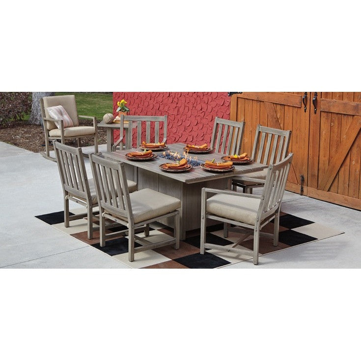 Woodlands Linear Dining Fire Pit with Linear Burner, Outdoor Furniture, Woodard - Danny Vegh's