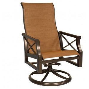 Andover Sling High Back Swivel Dining Chair, Outdoor Furniture, Woodard - Danny Vegh's