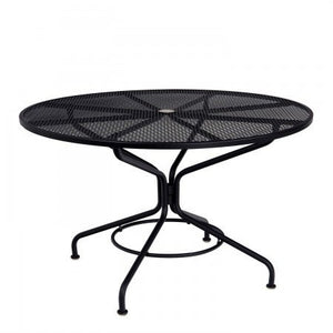 "Wrought Iron Mesh Top Set Up 48"" Round Umbrella Table, Outdoor Furniture, Woodard - Danny Vegh's"