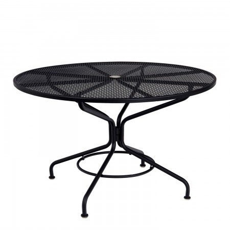 "Wrought Iron Mesh Top Set Up 48"" Round Umbrella Table"