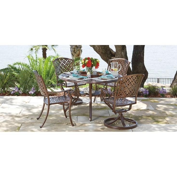 Casa Swivel Rocking Dining Arm Chair with Optional Seat Cushions, Outdoor Furniture, Woodard - Danny Vegh's