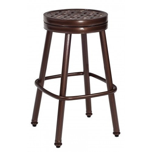 Casa Round Swivel Bar Stool with Optional Seat Cushion, Outdoor Furniture, Woodard - Danny Vegh's