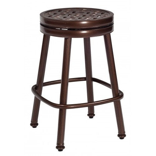Casa Round Swivel Counter Stool with Optional Seat Cushion, Outdoor Furniture, Woodard - Danny Vegh's