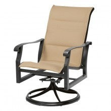Cortland Padded Sling High-Back Swivel Rocker, Outdoor Furniture, Woodard - Danny Vegh's