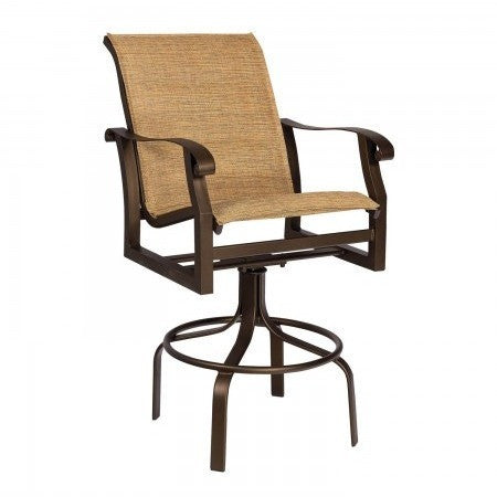 Cortland Padded Sling Swivel Bar Stool, Outdoor Furniture, Woodard - Danny Vegh's