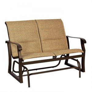 Cortland Padded Sling Gliding Loveseat, Outdoor Furniture, Woodard - Danny Vegh's