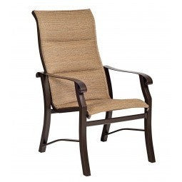 Cortland Padded Sling High-Back Dining Arm Chair, Outdoor Furniture, Woodard - Danny Vegh's
