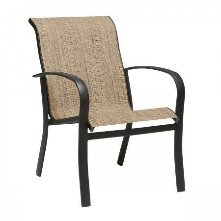 Fremont Sling Dining Arm Chair - Stackable, Outdoor Furniture, Woodard - Danny Vegh's
