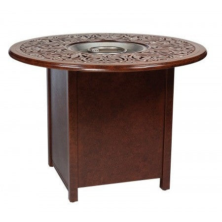 "Napa 48"" Round Fire Table and Counter Height Universal Square Base with Round Burner, Outdoor Furniture, Woodard - Danny Vegh's"