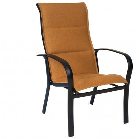 Fremont Padded Sling High Back Dining Arm Chair - Stackable, Outdoor Furniture, Woodard - Danny Vegh's
