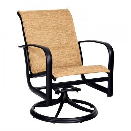 Fremont Padded Sling Swivel Rocker Dining Arm Chair, Outdoor Furniture, Woodard - Danny Vegh's