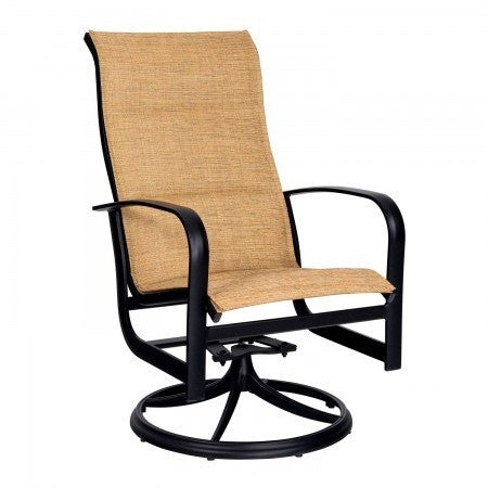 Fremont Padded Sling High Back Swivel Rocker Dining Arm Chair, Outdoor Furniture, Woodard - Danny Vegh's