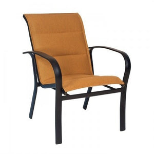 Fremont Padded Sling Dining Arm Chair - Stackable, Outdoor Furniture, Woodard - Danny Vegh's