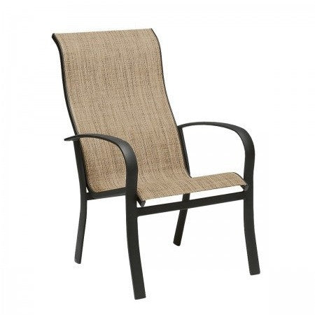 Fremont Sling High Back Dining Arm Chair - Stackable, Outdoor Furniture, Woodard - Danny Vegh's