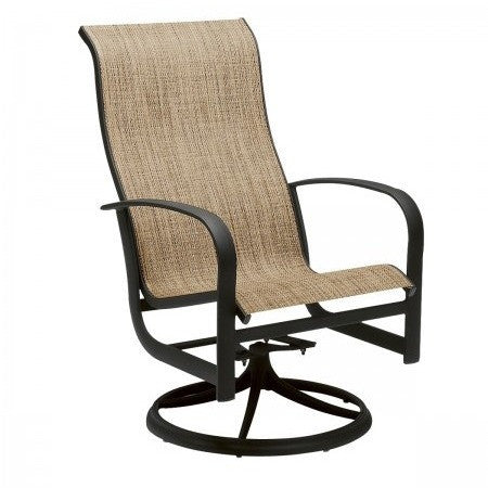 Fremont Sling High Back Swivel Rocker Dining Chair, Outdoor Furniture, Woodard - Danny Vegh's