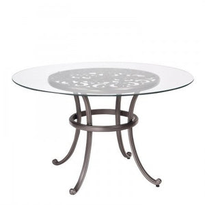 "New Orleans 48"" Round Umbrella Table with Glass Top, Outdoor Furniture, Woodard - Danny Vegh's"