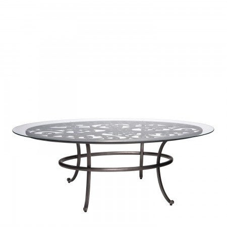 New Orleans 48 x 84 Oval Umbrella Table with Glass Top, Outdoor Furniture, Woodard - Danny Vegh's