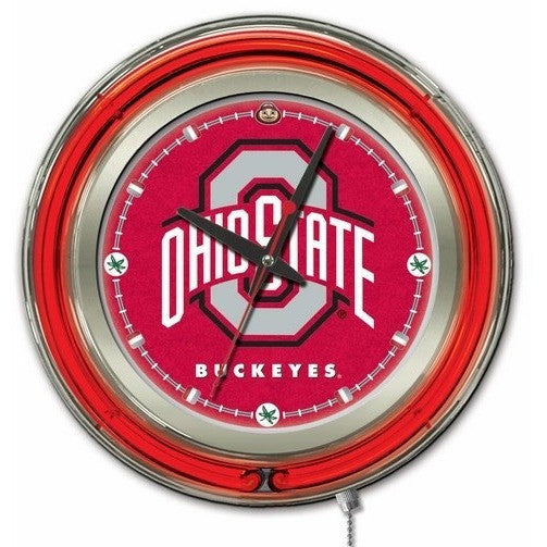 "15"" Neon Ohio State University Logo Clock, Gameroom Accessories, Holland - Danny Vegh's"