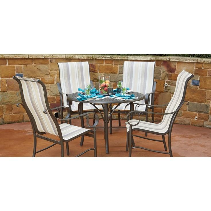 Ridgecrest Sling High Back Swivel Rocker Dining Arm Chair, Outdoor Furniture, Woodard - Danny Vegh's