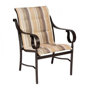Ridgecrest Padded Sling Dining Arm Chair, Outdoor Furniture, Woodard - Danny Vegh's