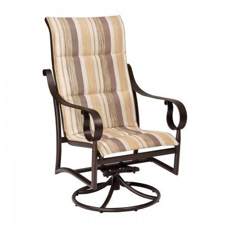 Ridgecrest Padded Sling High Back Swivel Rocker Dining Arm Chair, Outdoor Furniture, Woodard - Danny Vegh's