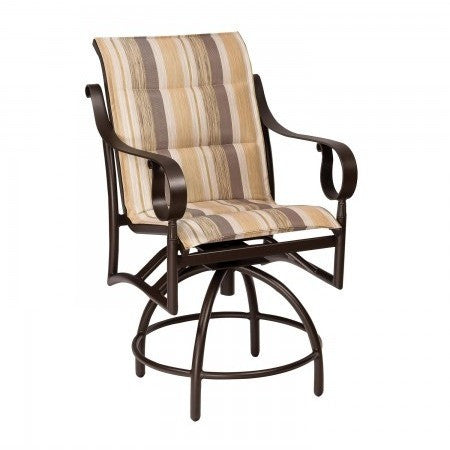 Ridgecrest Padded Sling Swivel Counter Stool, Outdoor Furniture, Woodard - Danny Vegh's