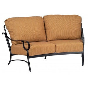 Ridgecrest Cushion Crescent Love Seat, Outdoor Furniture, Woodard - Danny Vegh's