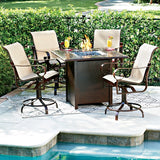 Belden Padded Sling Swivel Rocker Dining Arm Chair, Outdoor Furniture, Woodard - Danny Vegh's