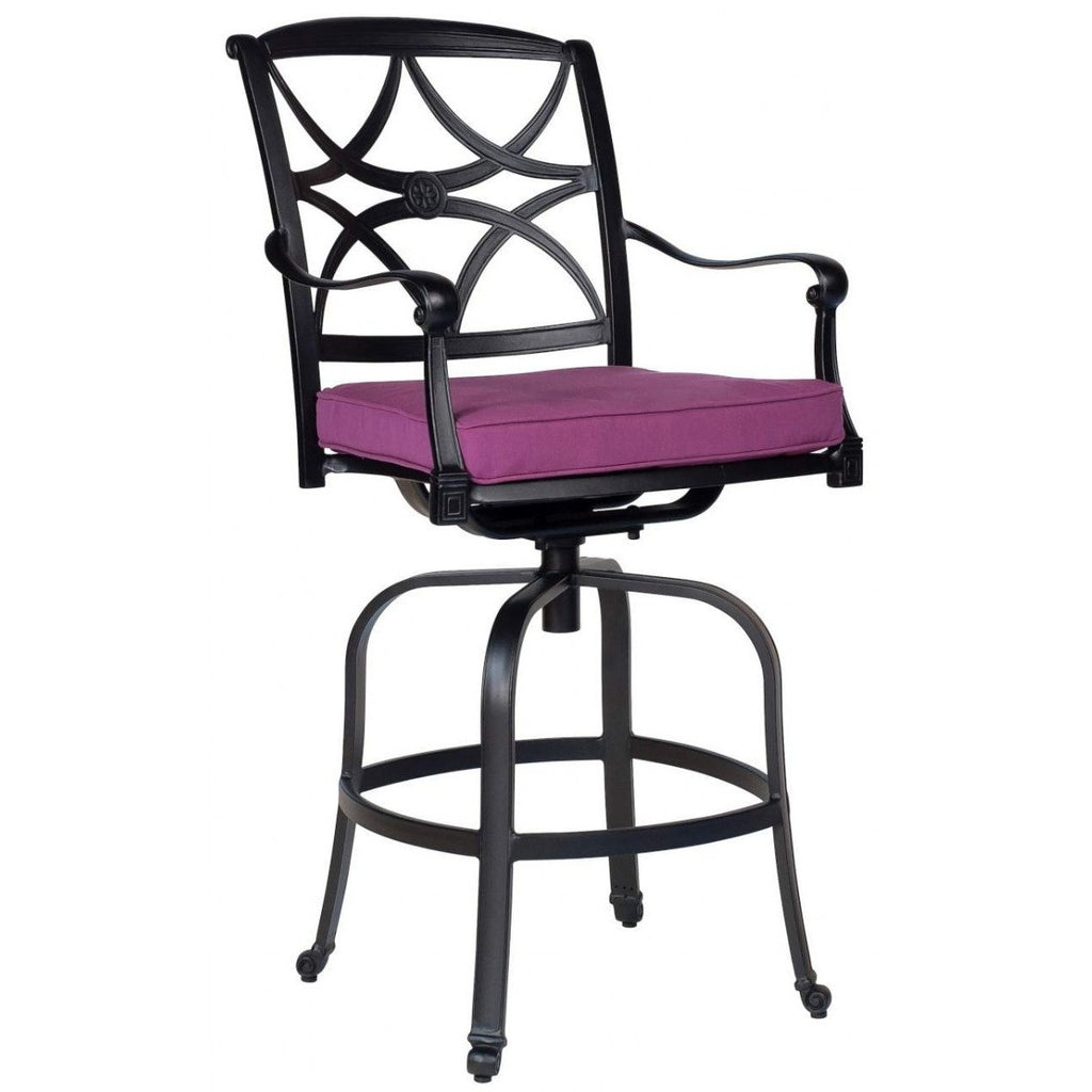 Wiltshire Swivel Bar Stool with Optional Seat Cushion, Outdoor Furniture, Woodard - Danny Vegh's