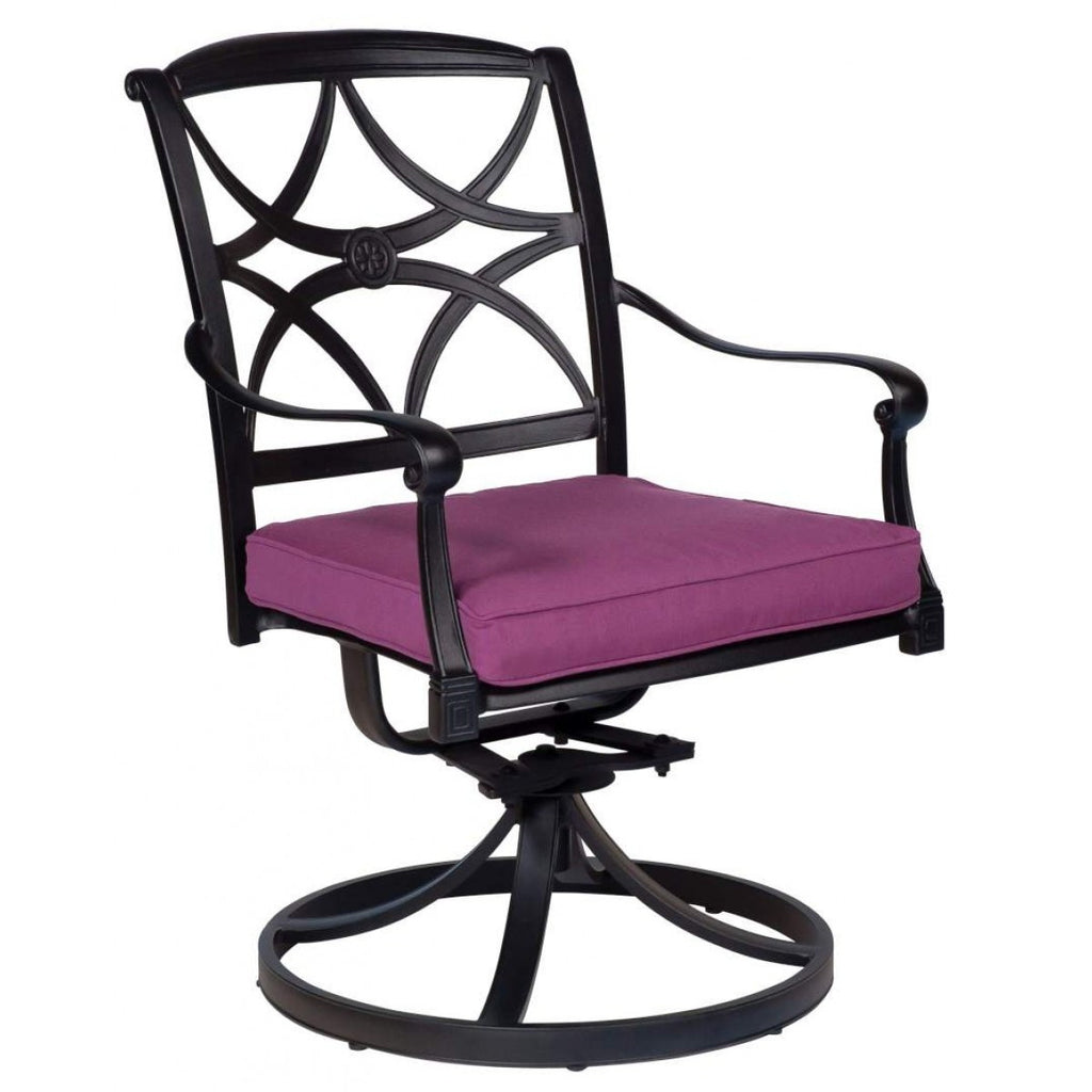 Wiltshire Swivel Rocker Dining Arm Chair with Optional Cushion, Outdoor Furniture, Woodard - Danny Vegh's