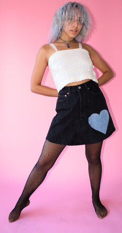 LTV Denim Heart Skirt ( Size S )