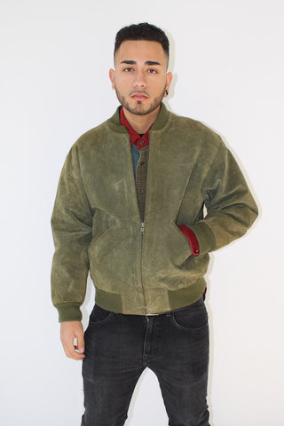 Preppy-Wave Moss Suede Bomber ( Men Size M )