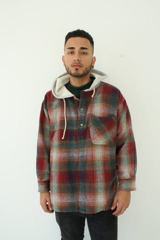Skater Kid Hooded Flannel (  Size L )