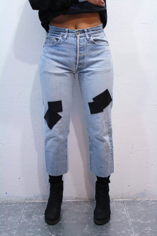 Butter-Soft Leather Patched Denim