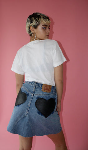 "LTV ""Pockets full of Heart"" Denim Skirt ( Waist 28"" )"