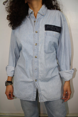 Tie Back Denim Shirt ( One Size Fits Most )