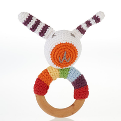Pebble Wooden Bunny Teething Ring and Rattle
