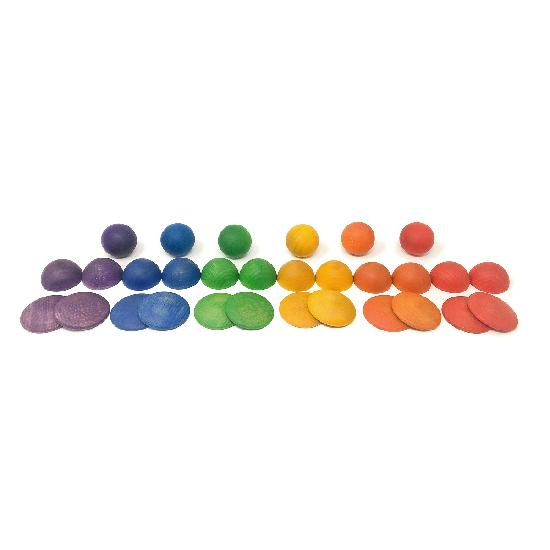 Grapat Wood Coloured Rounds 30 pcs