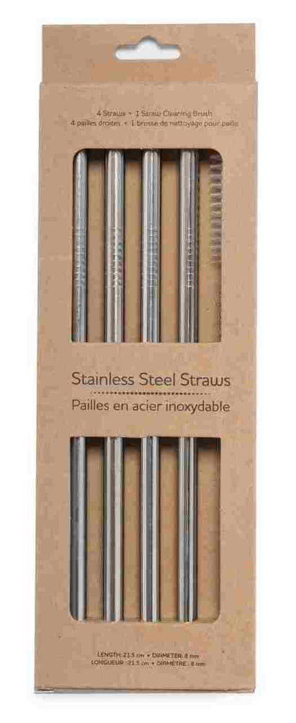 Life Without Waste Stainless Steel Straws (4 straws + Brush)