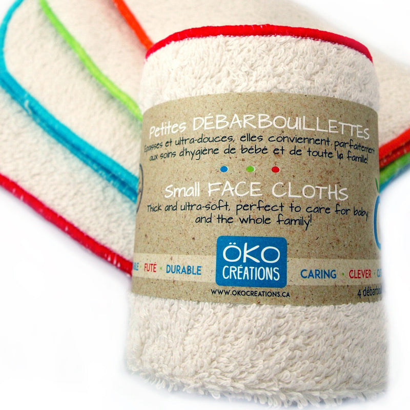 Oko Creations Small Organic Cotton Face Cloths, 4 pack