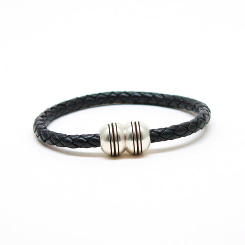 Braided Leather Hemisphere Bracelet Black